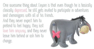 Even Eeyore can find solace in your compassion #BellLetsTalk